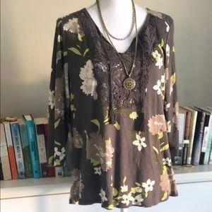 Sonoma | Gray Floral Top